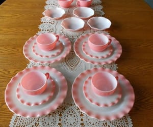 pink, tea cup, and pink tea cup image