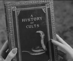 black and white, book, and cults image