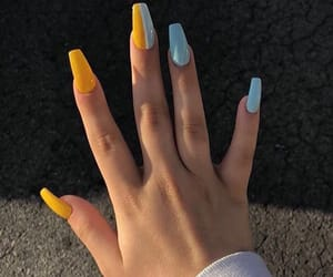 nails, blue, and yellow image