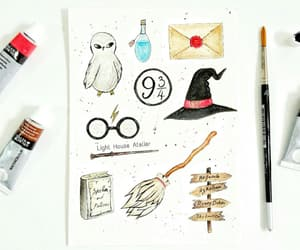 clipart, hogwarts, and watercolor image