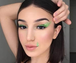flames, green, and makeup image