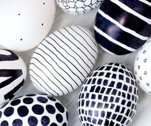 black and white, decor, and eggs image