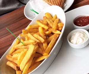 French Fries, ketchup, and sandwich image