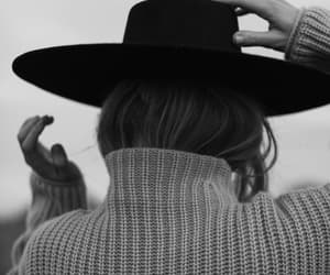 hat, black and white, and girl image