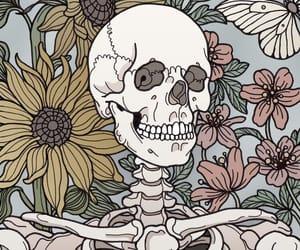 bones, flowers, and wallpaper image