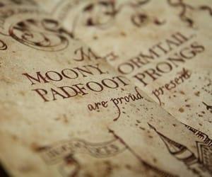 harry potter, hogwarts, and marauders map image