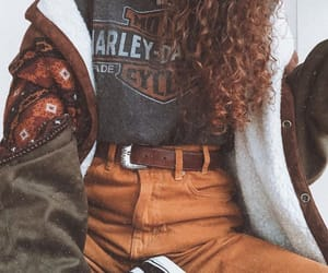 curls, jeans, and outfit image