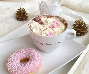 coffee, pink, and donuts image