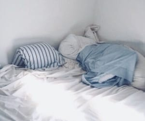 bed, blue, and pastel blue image