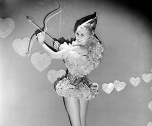 cupid, black and white, and hearts image