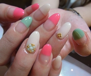 green, nails, and pink image