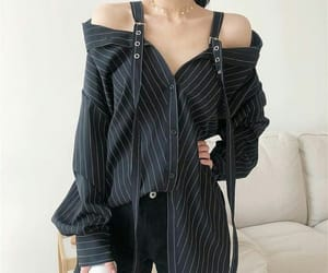 black, clothes, and stripes image
