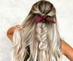 hair, bow, and girly image