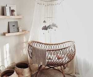 baby, crib, and wicker image