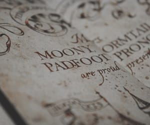 harry potter, hogwarts, and marauders map image