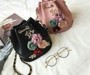 bag, black, and flowers image