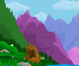 art, bear, and mountain image