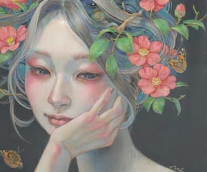 flores, mujer, and fantasía image