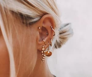 earrings, inspiration, and piercing image