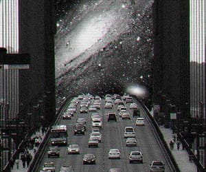 black and white, psicodelic, and cars image