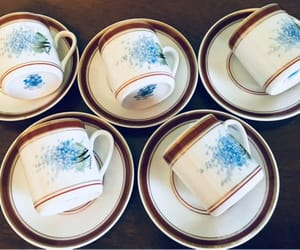 blue flowers, etsy, and vintage tea cups image