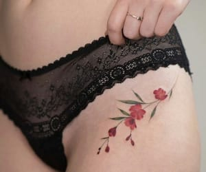 flowers, tatto, and woman image