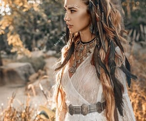 belt, hair, and necklaces image