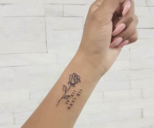 black ink, numbers, and rose image