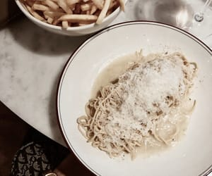 food, fries, and pasta image