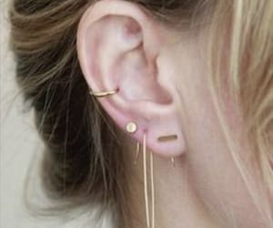 ear, earrings, and gold image