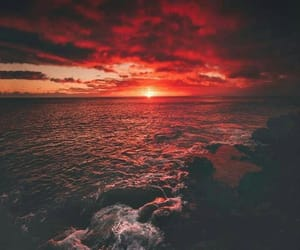 beach, red, and sky image
