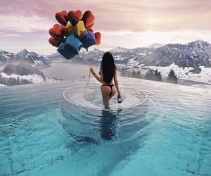 girl, balloons, and bikini image