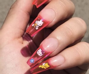 acrylic, hello kitty, and nails image