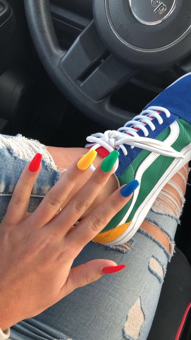 nails, vans, and colors image