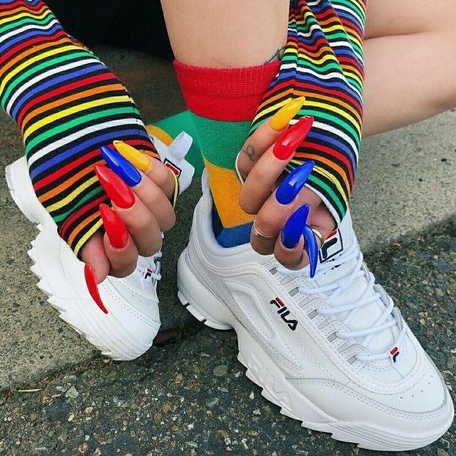 nails, Fila, and rainbow image