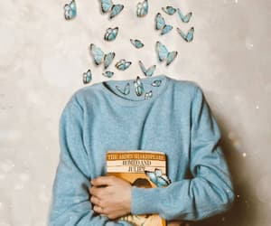 art, bookworm, and butterflies image