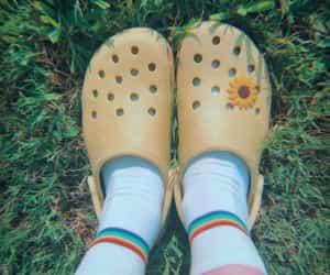 crocs, fashion, and rainbow image