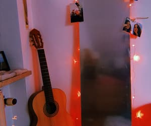 bedroom, guitar, and mirror image
