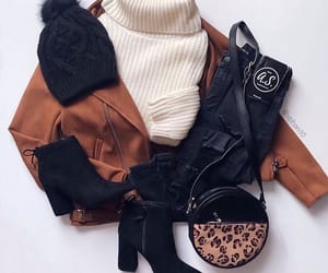 brown, jacket, and sweater image