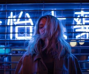girl, blue, and neon image