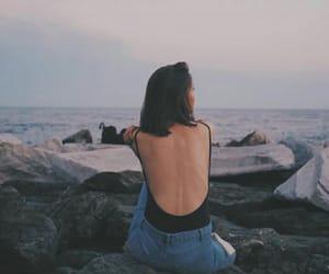 girl, sea, and skin image