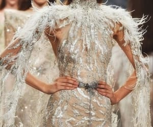 haute couture, model, and plumes image