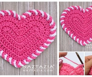 crochet, valentine, and heart image