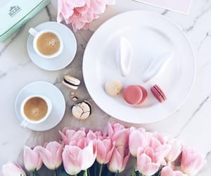 coffee, pink, and ‎macarons image