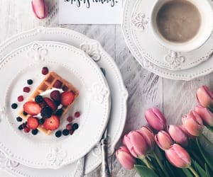 waffles, coffee, and flowers image