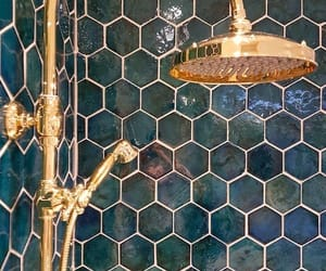bathroom, gold, and it image