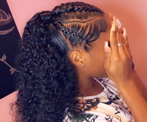 curly, edges, and hair image
