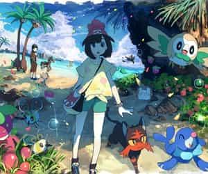 moon, popplio, and pokemon image