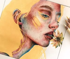 art, yellow, and draw image