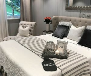 bed, bedroom, and cushions image